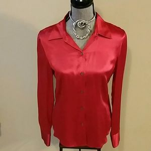 NY&CO Red Silk Button Down